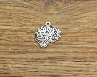 12pcs Brain Pendants Charms Organ Charm Antique Silver Tone 21x22mm cf4157