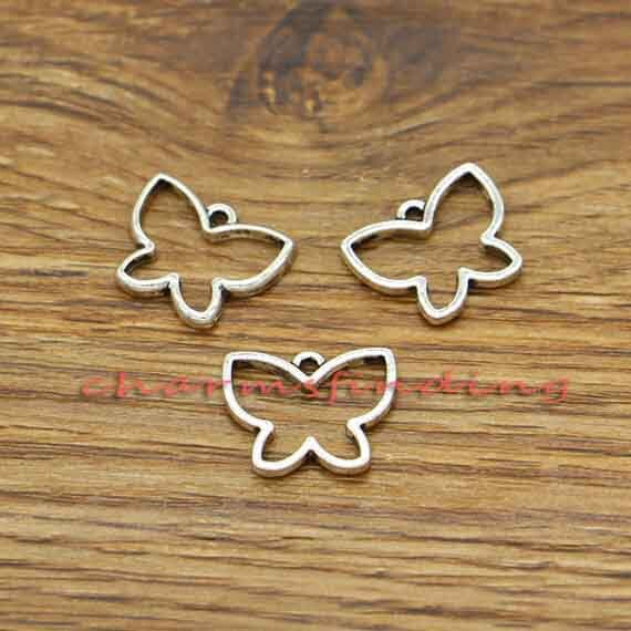 50pcs Butterfly Charm Pendants For Key Chain Earring DIY Bags Purse Decor