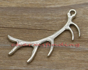 5pcs Antler Charm Deer Large Charms Animal Charms Antique Silver Tone 67x21mm cf0477
