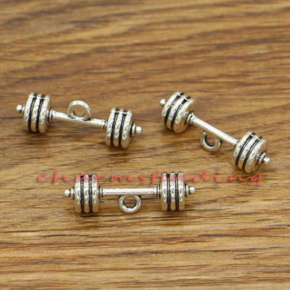 5pcs-silver dumbbel charm,barbell charm,power lifting charm,workout charm