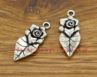 15pcs Rose Leaf Charms Floral Charms Antique Silver Tone 13x33mm cf1934