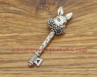 6pcs White Rabbit Key Pendants Charms Antique Silver Tone 16x51mm cf3249
