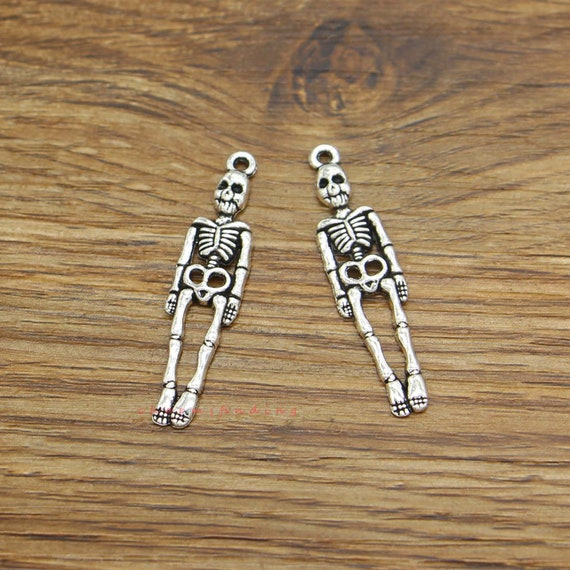 Long Skeleton Charms Perfect for Earrings Halloween Charms Skeleton Jewelry Supplies 39x9mm