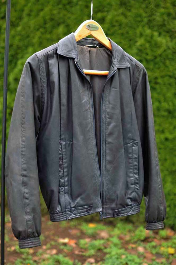 Vintage Neto Ladies Pre Owned Soft Black Leather Bomber Style Etsy