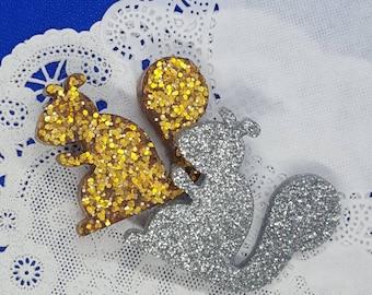 Squirrel Glitter Resin Brooch