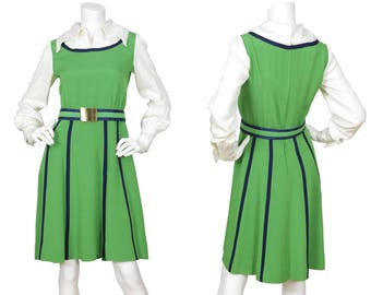 76479cec623 Geoffrey Beene 1960s Vintage Museum Quality Mod Green   White Collared Dress