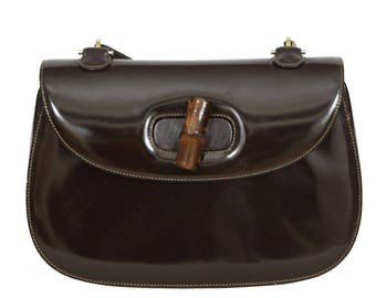 Gucci 1970s Vintage Iconic Bamboo Clasp Brown Patent Leather Shoulder Bag 1cf2ca78966f0