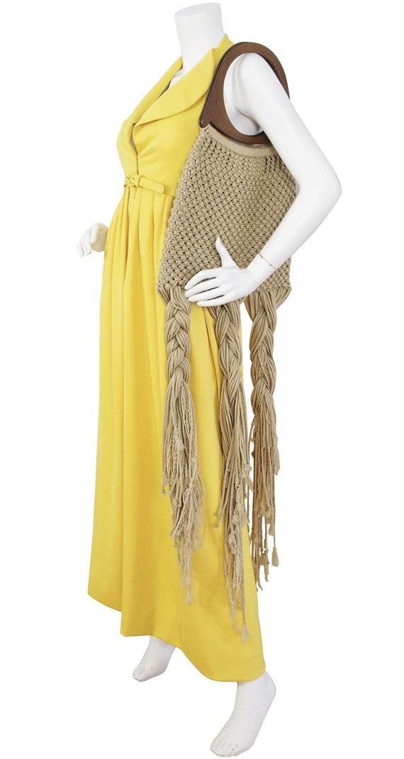 "1970s Vintage Macrame Boho Purse / 50"" Oversized S"