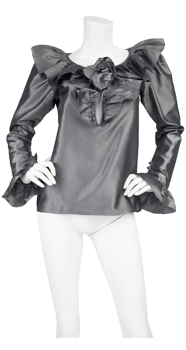 c979e463786 Yves Saint Laurent 1982 F/W Vintage Rosebud Ruffle Pewter Silk | Etsy