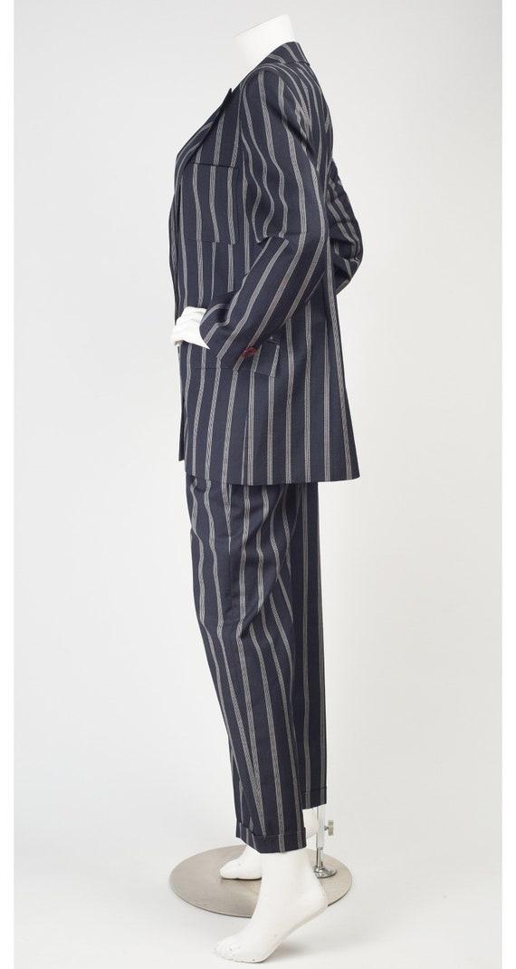 Guy Laroche 1980s Vintage Pinstripe Navy Blue Woo… - image 6