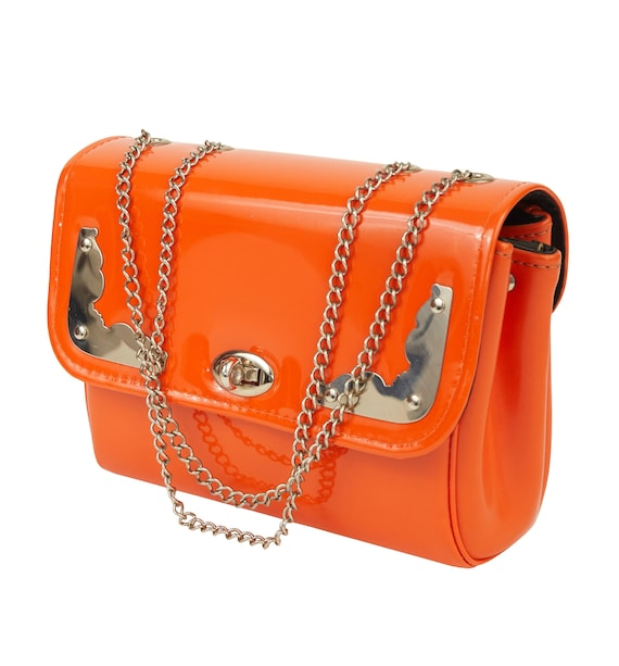 1960s Vintage Mod Orange Vinyl & Silver Handbag