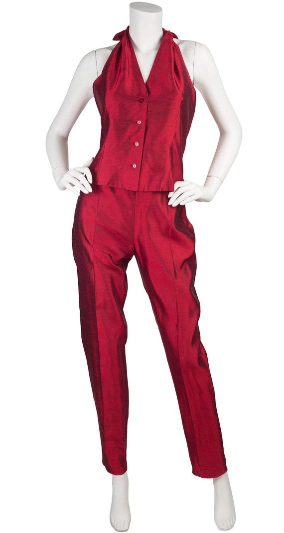 Max Mara 1990s Vintage Red Raw Silk Halter Pant Su