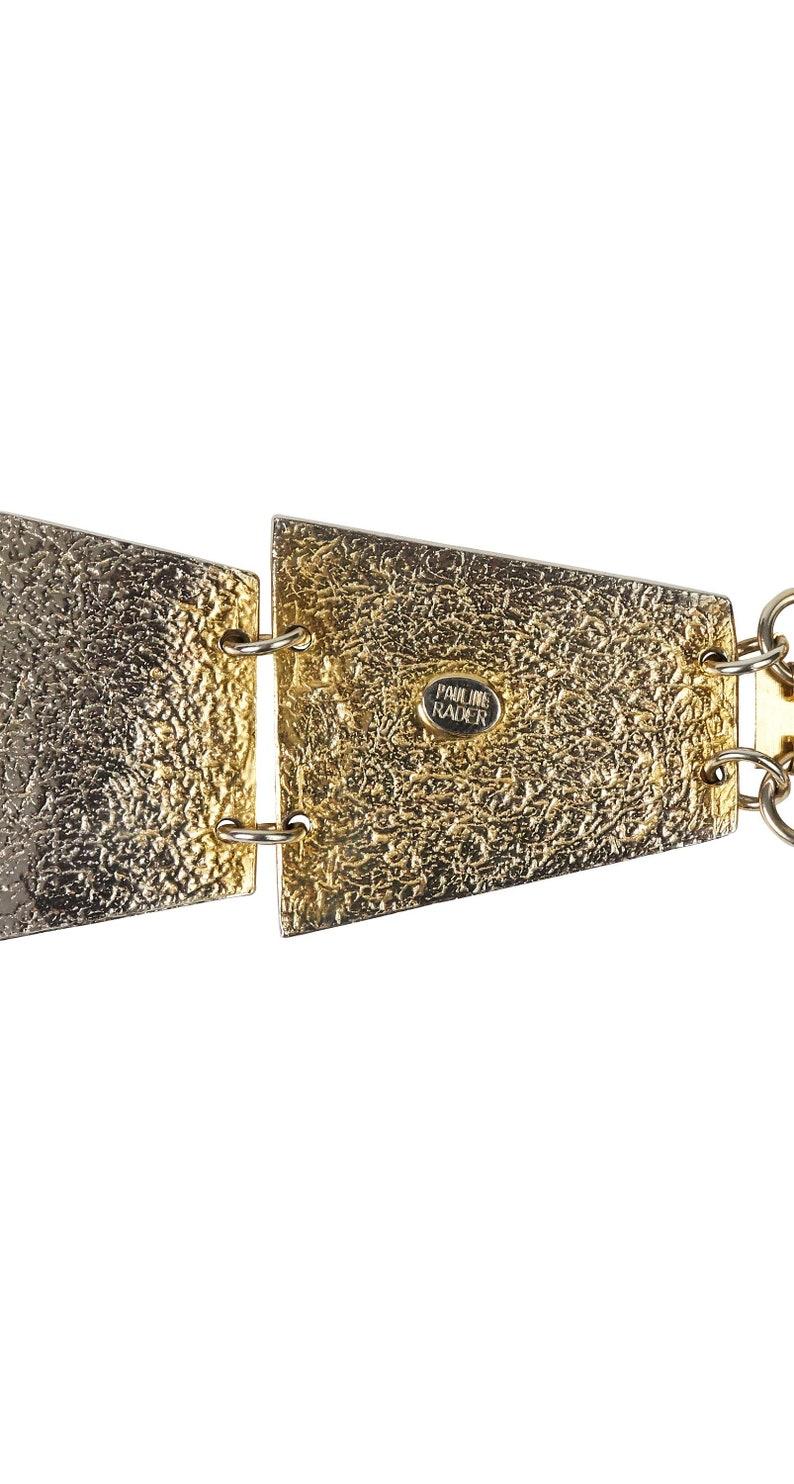Pauline Rader 1970s Vintage Egyptian Revival Tiered Signed Gold Necklace