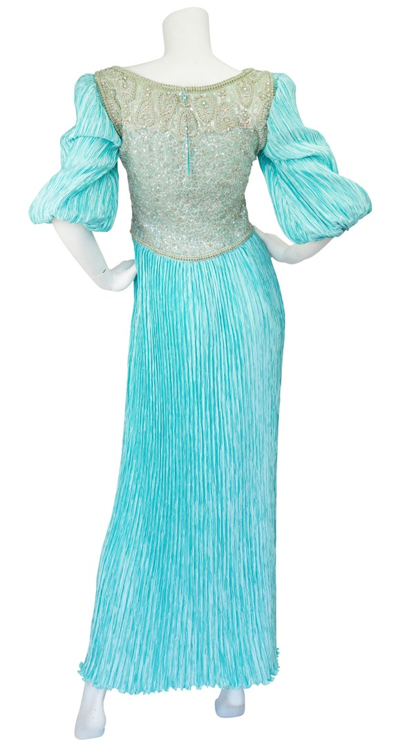Mary McFadden Couture 1980s Vintage Beaded Turquo… - image 2