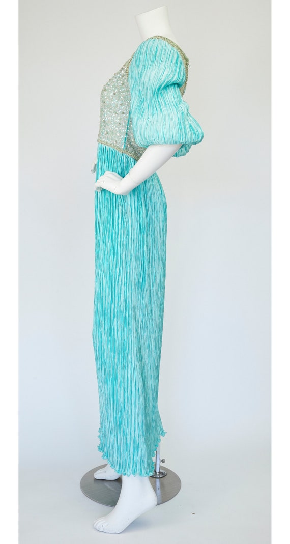 Mary McFadden Couture 1980s Vintage Beaded Turquo… - image 5