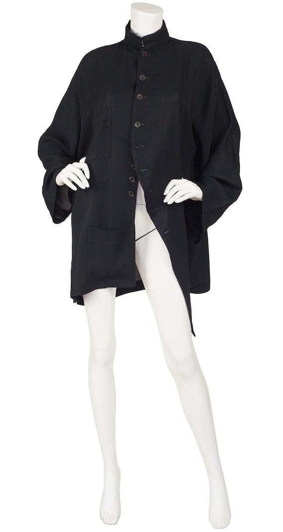 Yohji Yamamoto 1990s Vintage Black Asymmetrical Ne