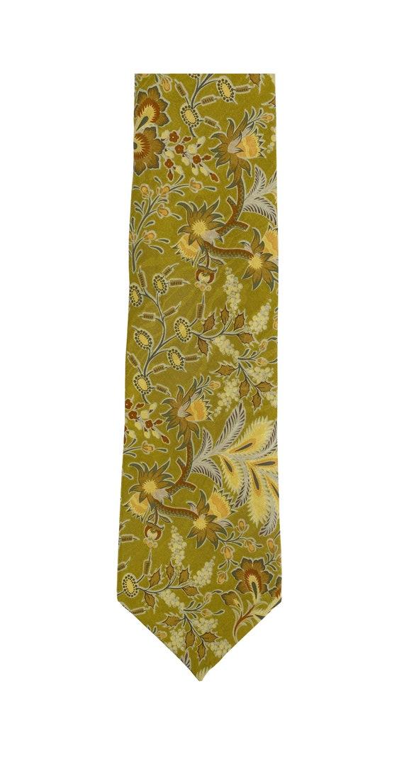 Nina Ricci 1990s Vintage Floral Chartreuse Silk Me