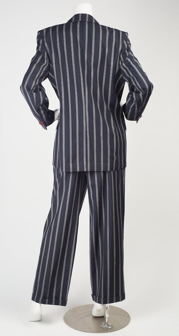 Guy Laroche 1980s Vintage Pinstripe Navy Blue Woo… - image 4