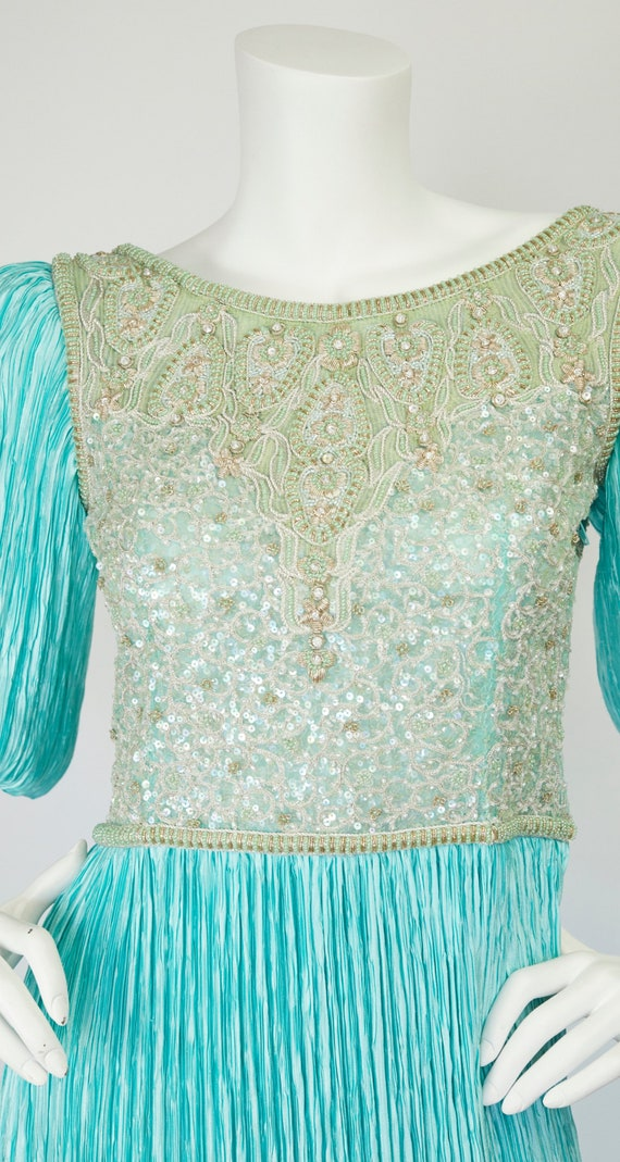 Mary McFadden Couture 1980s Vintage Beaded Turquo… - image 3