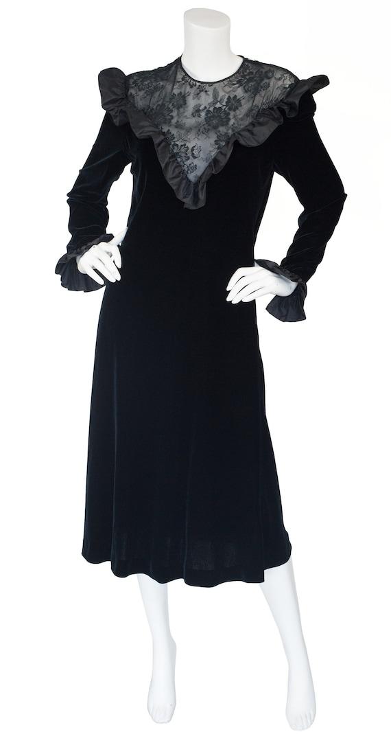 Hanae Mori 1980s Vintage Black Lace & Velvet Ruffl