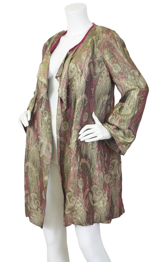1920s Vintage Lamé Evening Jacket / Gold & Pink Me
