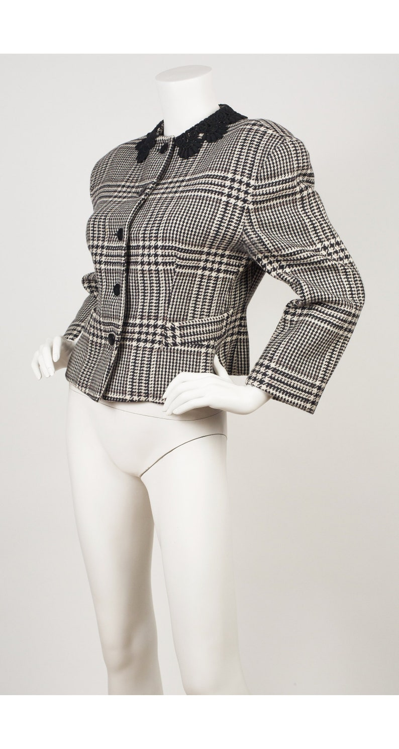 Byblos 1980s Vintage Lace Collar Houndstooth Wool Jacket Sz M