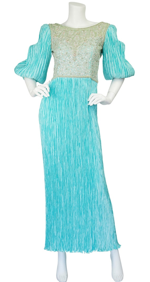 Mary McFadden Couture 1980s Vintage Beaded Turquoi