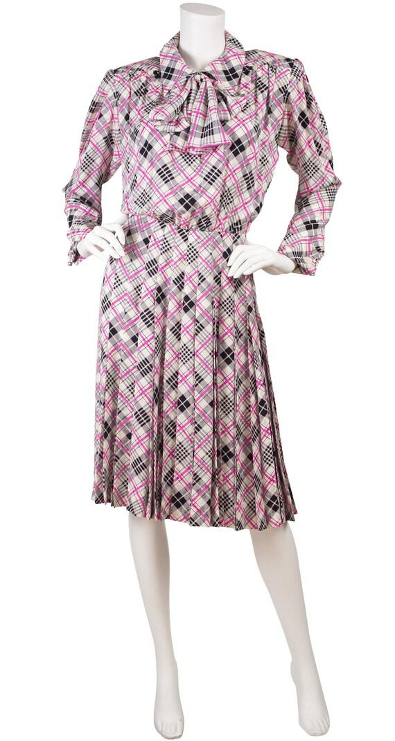 Yves Saint Laurent 1980s Vintage Pink & Gray Jacqu