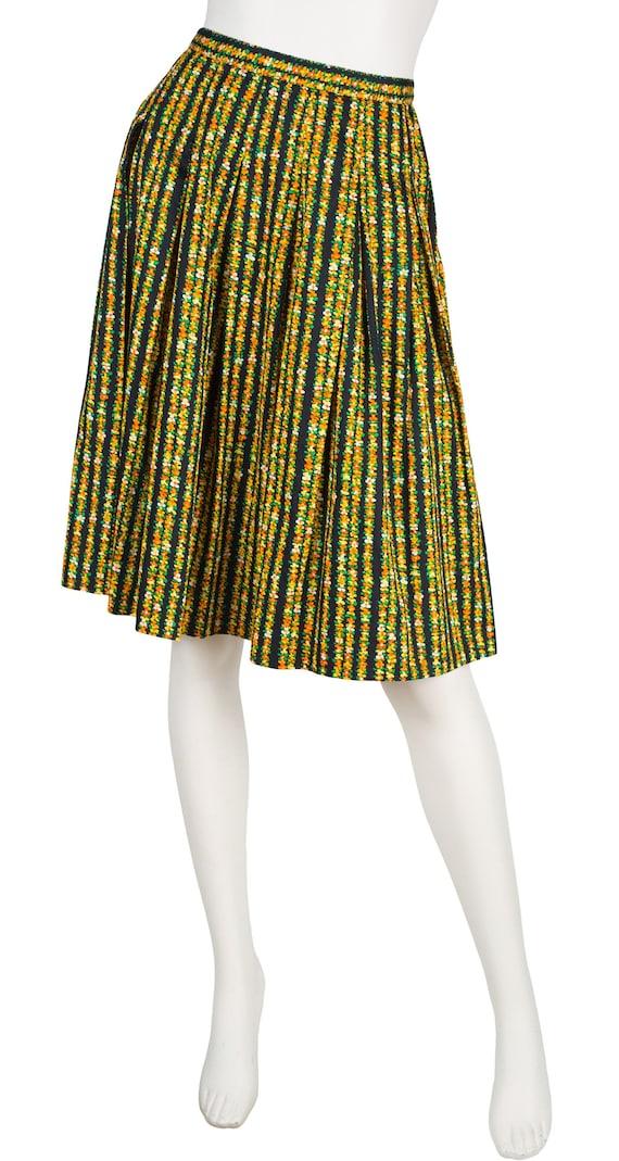 Céline 1970s Vintage Floral Cotton Pleated Skirt S