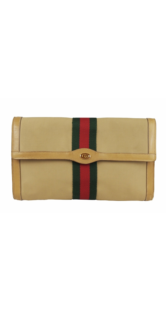 Gucci 1980s Vintage Red & Green Stripe Canvas Clut