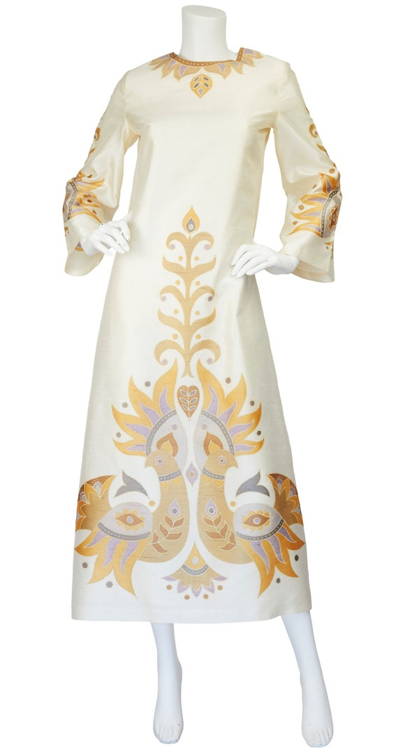 1960s Vintage Bird Print Cream Thai Silk Caftan Maxi Dress Sz S M