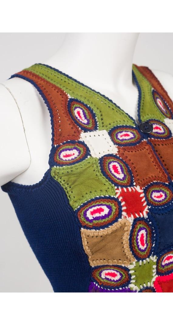 Halston 1970s Vintage Patchwork Leather & Wool Kn… - image 3