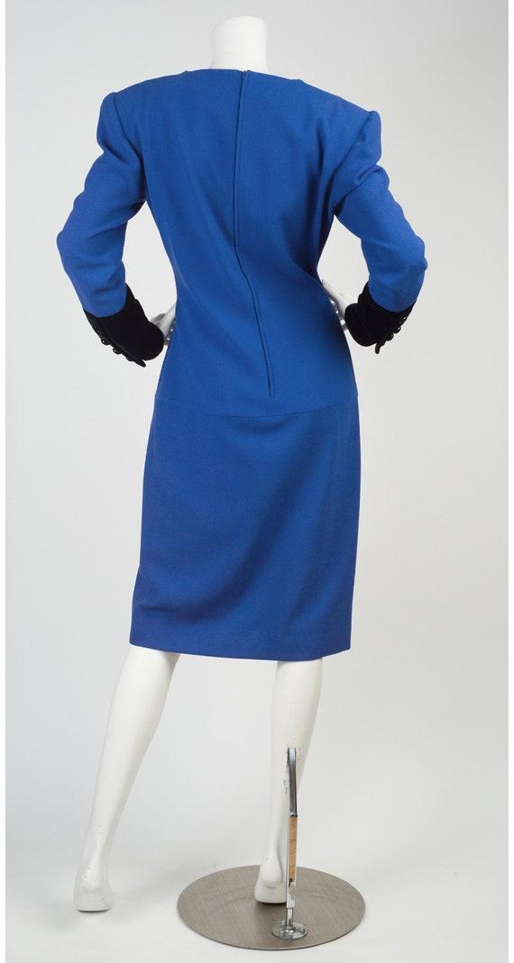80s Valentino Boutique Vintage Dress  Navy Colored Vintage Shirt Dress  1980s Designer Dress