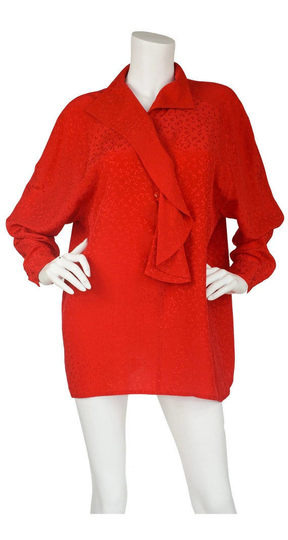 Anne-Marie Beretta 1980s Vintage Red Silk Ruffle N