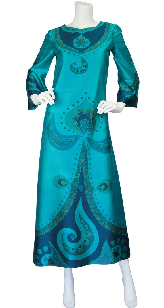 1960s Vintage Teal Printed Thai Silk Caftan Maxi Dress Sz S M
