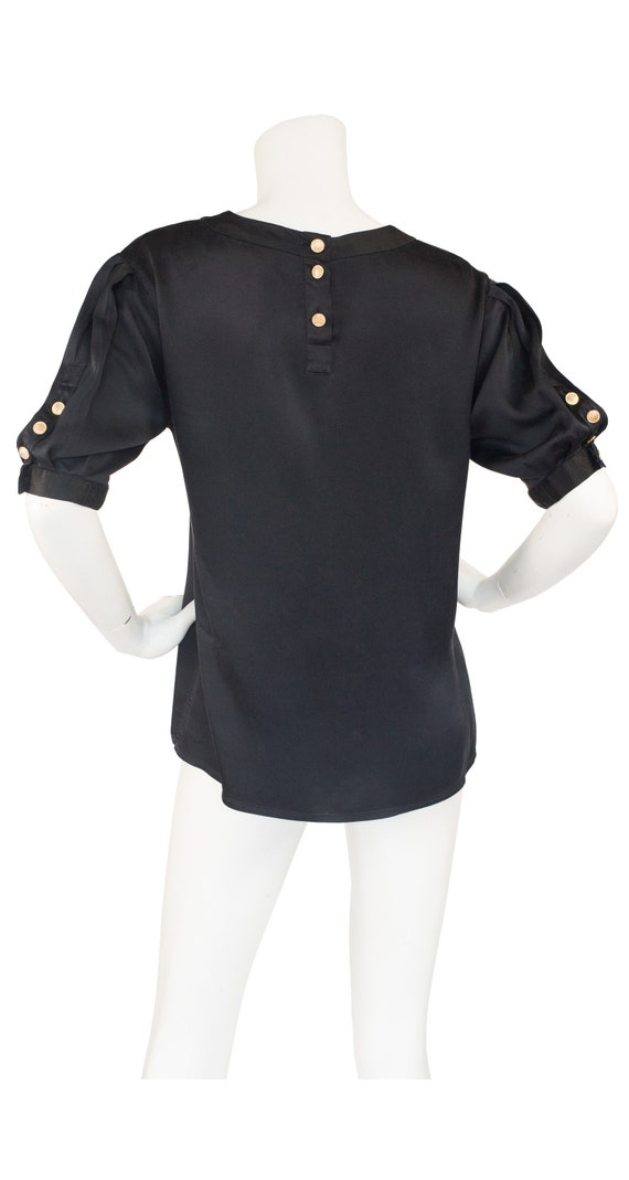 Chanel 1980s Vintage Black Silk Puff Sleeve Blouse