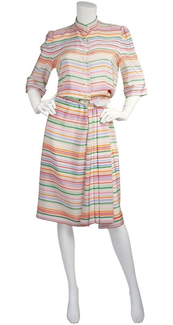 Lanvin Haute Couture 1970s Vintage Rainbow Striped