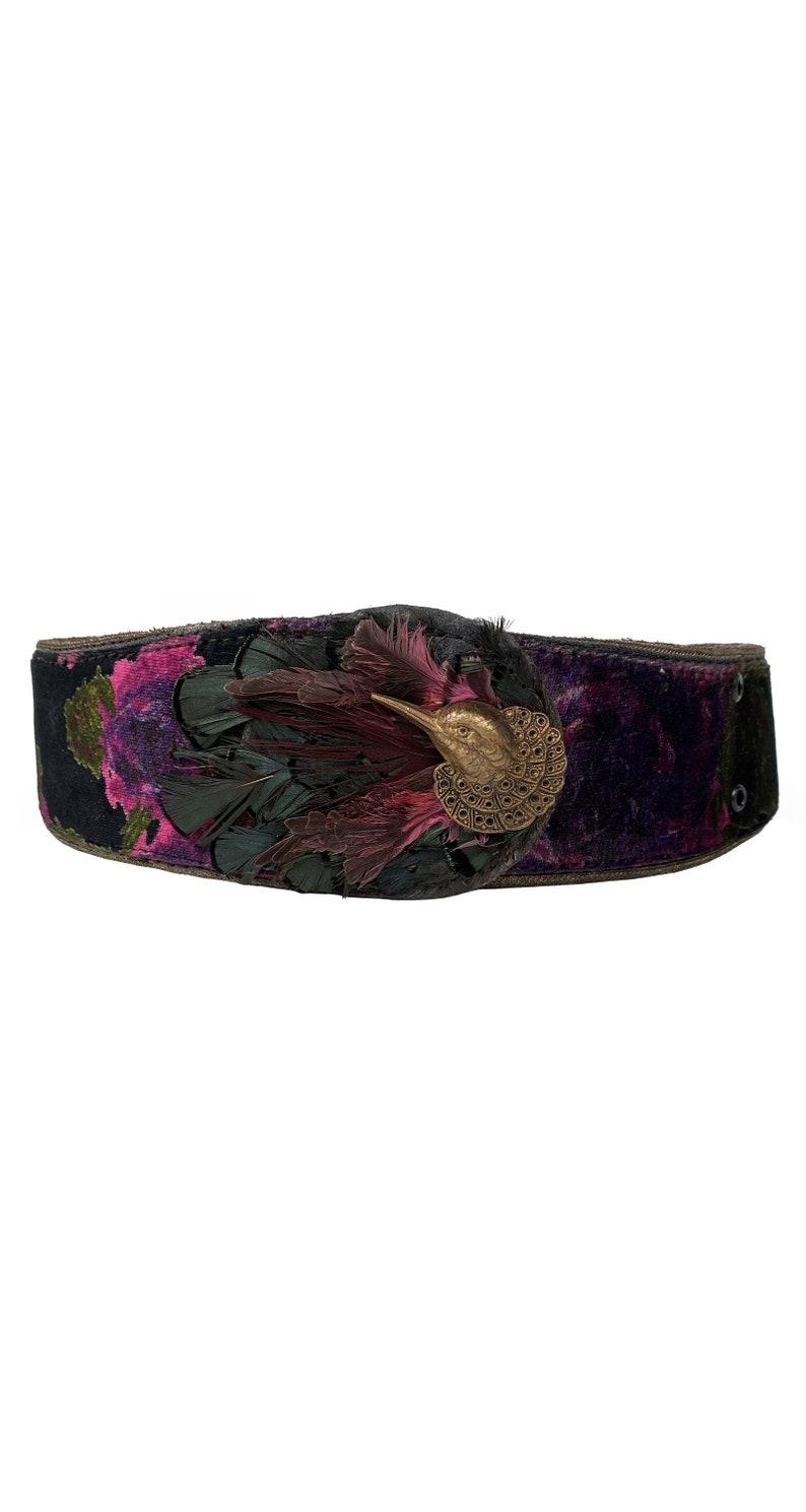 Emanuel Ungaro 1981 Vintage Documented Hummingbird Feather Floral Velvet Belt