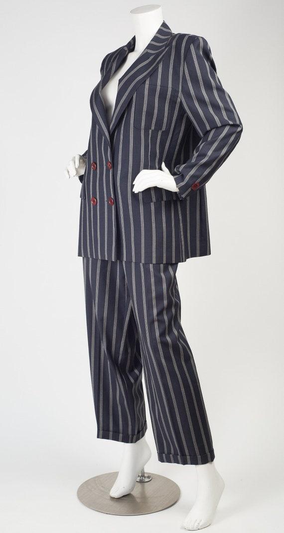 Guy Laroche 1980s Vintage Pinstripe Navy Blue Woo… - image 5