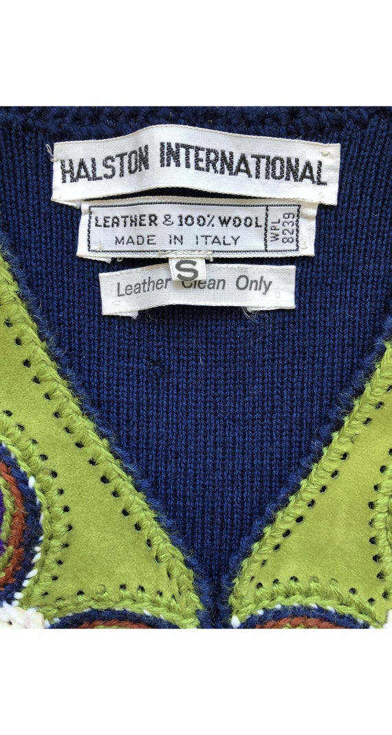 Halston 1970s Vintage Patchwork Leather & Wool Kn… - image 6