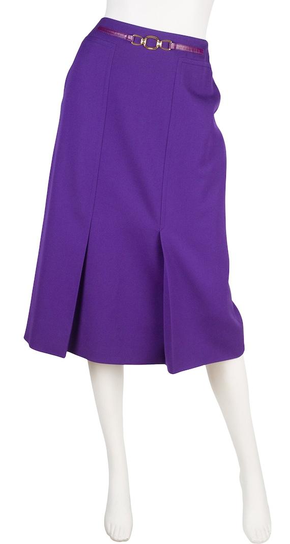 Céline 1980s Vintage Purple Wool & Leather Skirt S