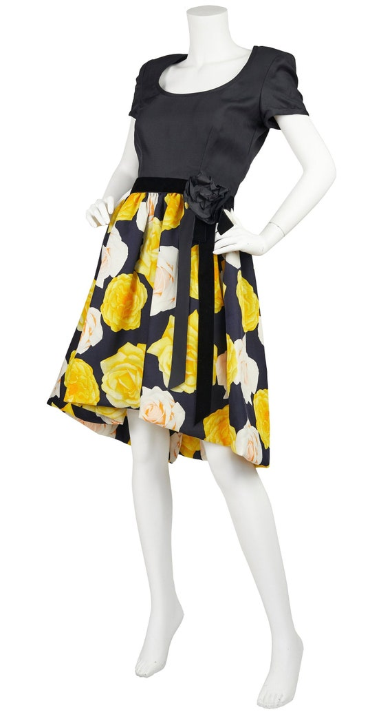 1980s Vintage Couture Rose Print Full Skirt Cockt… - image 1
