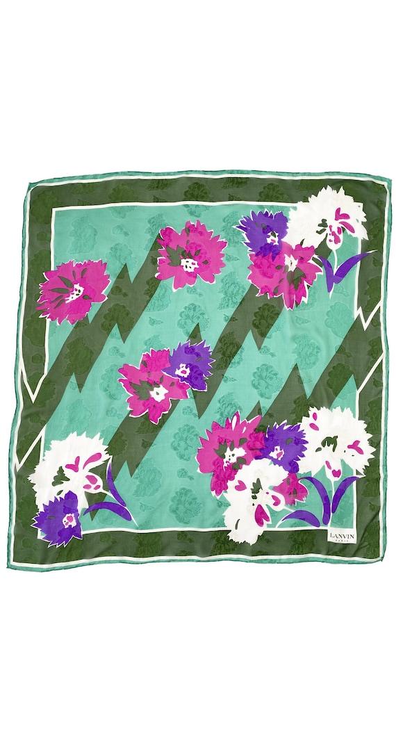 Lanvin 1980s Vintage Green Floral Jacquard Silk Ch