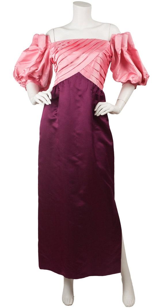 Michael Novarese 1980s Vintage Pink & Magenta Silk
