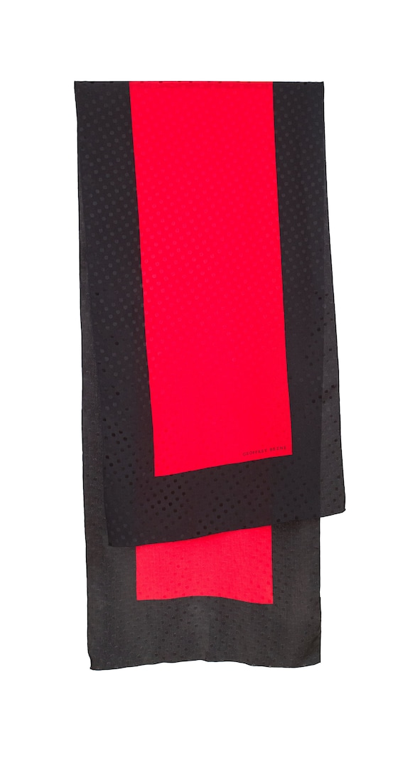 "Geoffrey Beene 1980s Vintage 70"" Red & Black Polk… - image 2"