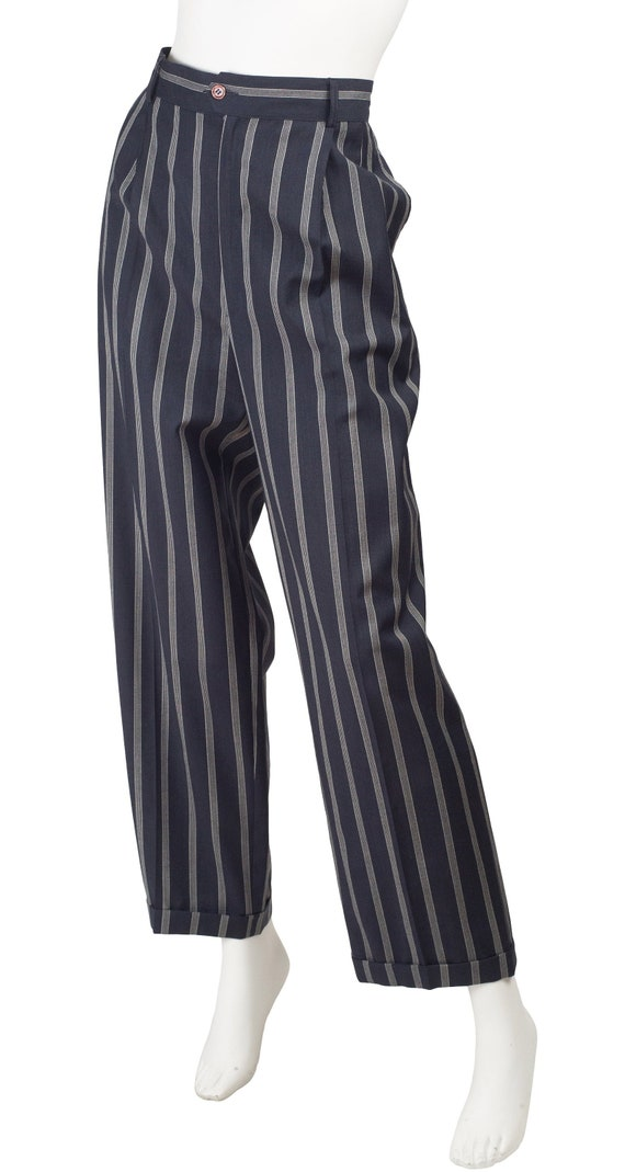 Guy Laroche 1980s Vintage Pinstripe Navy Blue Woo… - image 2