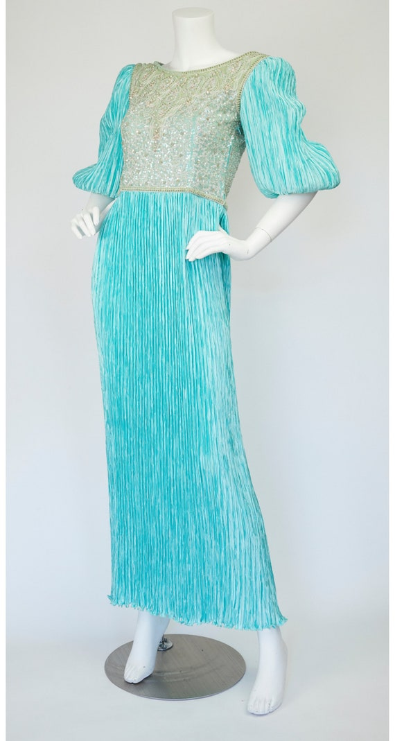 Mary McFadden Couture 1980s Vintage Beaded Turquo… - image 4