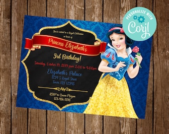 Disney Snow White Birthday Party Invites Party Supplies//Accessories Pack of 12 A5 Invitations with Envelopes Floral Portrait Design