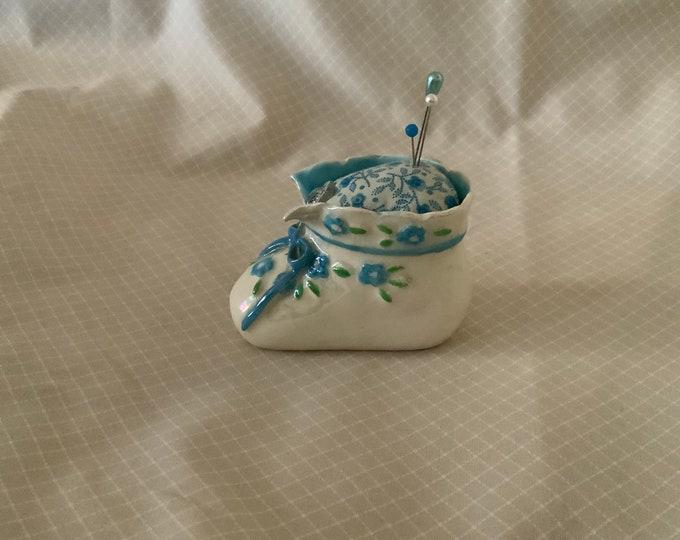 Vintage Ceramic Baby Shoe Pincushion