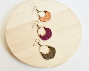 Leather Crescent Hoop Earrings:  Antique Brass and  Leather Drop Earrings // Metallics // Leafy Treetop Shop
